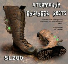 Steampunk Engineer Boots - SLUniverse Forums Steampunk Shoes, Steampunk Men, Adventure Outfit, Adventure Clothing, Engineer Boots, Combat Boots, Men Boots, Cool Boots, Dieselpunk