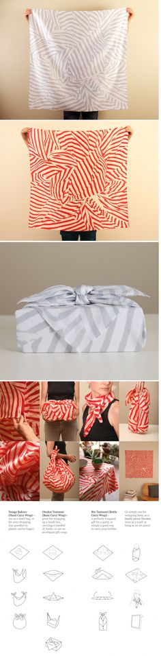 LINK Furoshiki  A new stylish take on furoshiki, the traditional Japanese wrapping cloth.  Use this in multiple ways: as a scarf, bundling, gift wrap, wall hanging!
