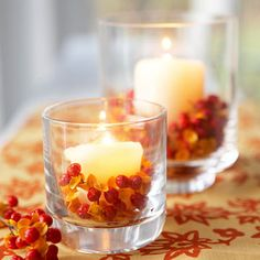 Bittersweet Votives.... now I know what to do with the berries that fall off the vine!