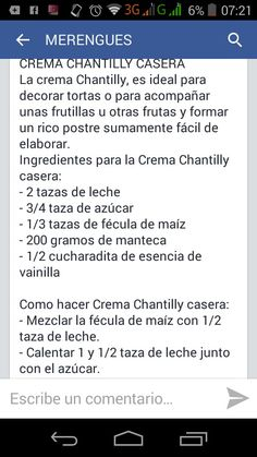 Receta chantilly