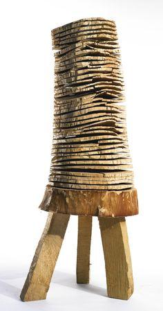 David Nash - Crack and Warp Stacked Wood, birch wood