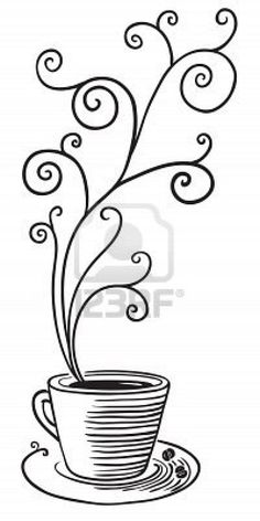 Coffee - Printables - Coffe cup with curled steam Stock Photo - 7623430 Embroidery Applique, Cross Stitch Embroidery, Embroidery Patterns, Coffee Art, Coffee Cups, Hot Coffee, Coffee Time, Illustration, Arabesque