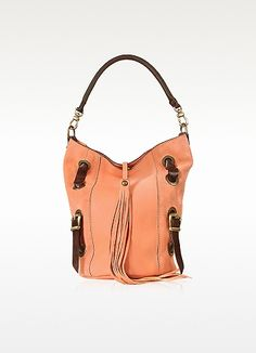 Front Tassel Salmon Pink Suede and Leather Hobo Bag - Ghibli