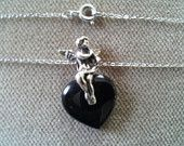 Vintage Black Onyx Heart Sterling Angel Pendant