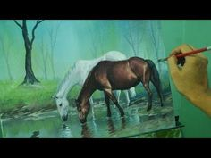 Acrylic Painting Lesson - Horses in the Misty Forest by JM Lisondra - YouTube