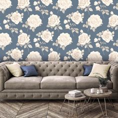 Vintage Rose Wallpaper Neutral Stone Grey Feature Wall Belgravia Rosa 9768