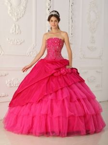 Lovely Hot Pink Quinceanera Dress Strapless Organza and Taffeta Beading Ball Gown