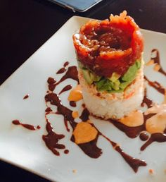 The Cuisine Queen: Ahi Tuna Towers at Home! Use a can, use a little more than half of the spicy mayo in w crab, 14 oz crab, was fine w/o eel sauce- serve w white corn chips snyders Seafood Dishes, Seafood Recipes, Appetizer Recipes, Appetizers, Sushi Dishes, Seafood Meals, Sushi Recipes, Cooking Recipes, Recipies