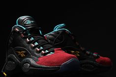 d0b12442d0d3 Reebok and sneaker boutique Burn Rubber teamed up on new Question Mids.  These Mids are inspired by the uniform of the 96 Piston s and inspired by  Apollos ...
