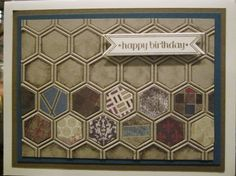 Masculine Honeycomb - mom remade with poetry print pack - awesome! Scrapbooking, Scrapbook Cards, Hexagon Cards, Birthday Cards For Men, Male Birthday, Boy Cards, Embossed Cards, Fathers Day Cards, Marianne Design