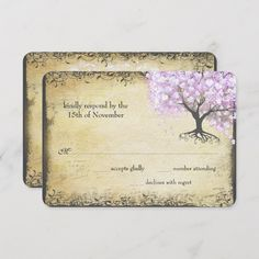 Shop Radiant Purple Heart Leaf Tree Wedding RSVP Card created by samack. Lilac Wedding, Woodsy Wedding, Tree Wedding, Wedding Rsvp, Forest Wedding, Elegant Wedding, Wedding Response Cards, Vintage Birds, Lavender