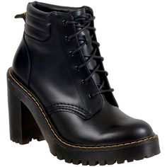 Dr. Martens Women's Persephone Buttero High Heel Boot ($160) ❤ liked on Polyvore featuring shoes, boots, black, high-heel hiking boots, lace up high heel boots, black lace-up boots, black platform boots and platform combat boots