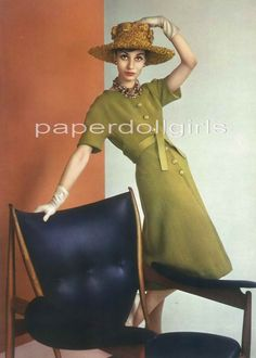 L'Officiel French Magazine Advertisement 1965 Jacques Heim Wool Olive Green…