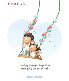 Cute love stories - Love is… Swinging Up and Down Love Cartoon Couple, Cute Love Cartoons, Cute Couple Art, Cute Cartoon, Cartoon Love Quotes, Cute Love Stories, Cute Love Quotes, Love Story, Love Images