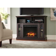 Home Decorators Collection Silverthorne 57 In Media Console Electric Fireplace In Espresso