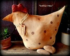 Primitive Folk Art Handcrafted Dottie Hen-Farmer's Market-Farmhouse Chicken-Home Decor-Handmade-Chicken and Eggs-Spring-Primitive Critter by MeadowForkPrims on Etsy