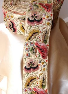 Vintage silk embroidered ribbon from Bombay