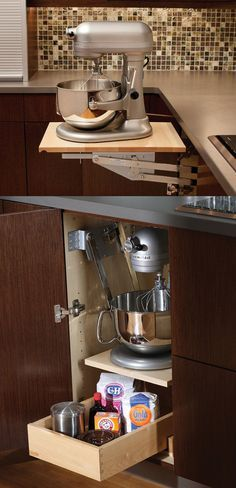 Mixer & Kitchen Appliance Storage Cabinet - A mixer or other heavy kitchen appliance can be lifted with ease to countertop level than conveniently stored in its own cabinet with out straining your back! There's room for Accessories and Misc Storage in the roll-out shelf below.    - Appliance Cabinet by Dura Supreme Cabinetry