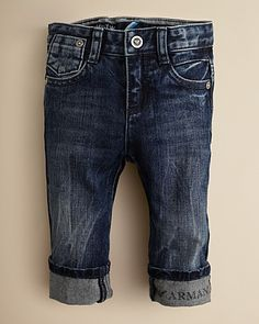Armani Junior Infant Boys' Logo Cuff Jeans - Sizes 3-24 Months | Bloomingdale's