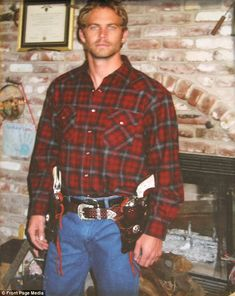 Action hero: Paul Walker, here dressed as a cowboy in a family photo, was ready to quit his acting career