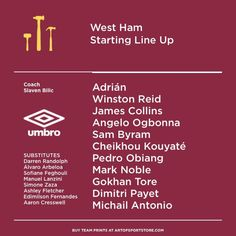 Westham line up - @umbrousa x @artofsport collaboration  Can they do it today?  #Whufc #westham #irons #umbrousa #umbro