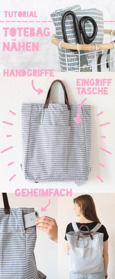 It's Tutorial Time! – Totebag-Rucksack nähen Close your own bag! Sewing tutorial for totebag backpack, step by step Diy Sewing Projects, Sewing Projects For Beginners, Sewing Hacks, Sewing Tutorials, Sewing Tips, Sewing Crafts, Sewing Clothes, Diy Clothes, Bags Sewing