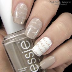 #essie Sand Tropez and #ginatricot White. Stamping plate is Qgirl-017.
