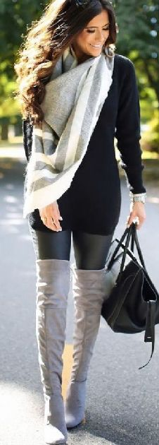 Outfit ideas from pieces you already have . winter / fall cute , street style chic looks. deal on fleece lined leggings