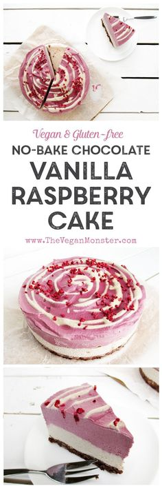 Vegan Gluten-free Dairy-free Egg-free Refined Sugar Free Raw No Bake Chocolate Vanilla Raspberry Cake Recipe
