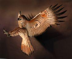 Hawk Wood Sculpture Attacking by Jason Tennant by jasontennant