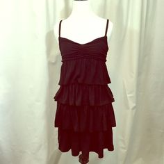 J. Crew Tiered Ruffle Sun Dress EUC. Soft, stretchy jersey fabric composes this versatile black dress. Add some bold accessories and wear it for a night out or wear it to the beach, either way you'll be comfortable. Fully lined. The straps run a bit long but they can easily be shortened. No stains or holes. Machine washable modal rayon/spandex blend. trades I don't smoke but love my rescue cat. J. Crew Dresses Mini