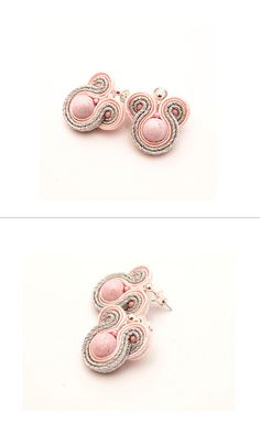 Blush pink stud earrings soutache, beadwork. Pale pink, silver bridal earrings. Pink gift for bridesmaid under 20. Romantic earrings wedding