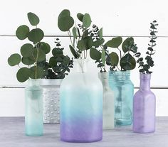 Cool Colors Frosted Glass Collection -- Create a beautiful collection of glass with paint!  #decoartprojects