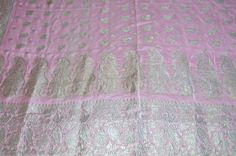 Beautiful Vintage Sari Fabric Panel Pink Silk Silver Embroidery Crafts Sewing