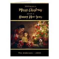 Merry Christmas and New year photo card black gold