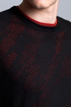 Fabric, hole pattern, mesh, black, red