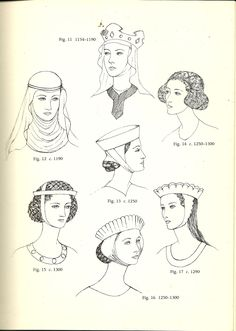 Vintage Hairstyles Glossary of English Hairstyles and Headdress: Medieval Costume, Medieval Dress, Medieval Fashion, Medieval Clothing, Historical Clothing, Historical Hairstyles, Medieval Hairstyles, Vintage Hairstyles, Wella Colour Chart