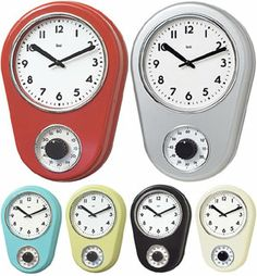 Vintage inspired Kitchen Clock / Timer combo in fun colors :)