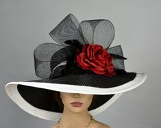 Black White Strips Woman Party Hat Kentucky Derby Hat Tea Hat Wedding Accessory Cocktail Party Hat Church Hat