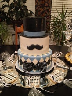 little man top hat and bow tie baby shower Mustache Cake, Moustache Party, Mustache Theme, Mustache Birthday, Little Man Party, Little Man Birthday, Boy First Birthday, Birthday Ideas, Birthday Cakes