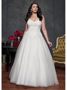 Elegant Sweetheart Neckline Natural Waistline Ball Gown Plus Size Wedding Dress With Beaded Lace Appliques