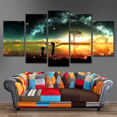 5 Panels Canvas Painting Rick and Morty Wall Art Painting