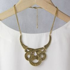 Statement Knot Necklace by Gaamaa, the perfect gift for Explore more unique gifts in our curated marketplace. Knot Necklace, Gold Necklace, Knots, Unique Gifts, Vintage Jewelry, Women Jewelry, Jewellery, Beautiful, Glamour