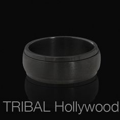 BLACK ON BLACK Spinner Ring for Men in Black Stainless Steel | Tribal Hollywood