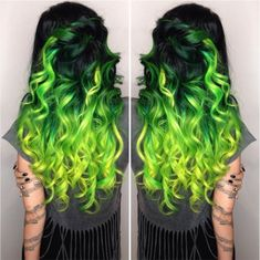 Elissa Wolfe's glorious green color melt hair has us sooo in the St. Patty's Day spirit. She got the look with Manic Panic!