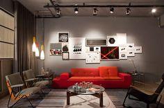 Mesmo uma sala moderna pode ter uma característica que remete ao estilo industrial