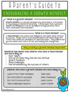 Help your parents to help their kids! Growth mindset for parents! $ @Schoolhouse Diva