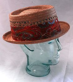 Men& 1966 Knox Straw Fedora with Red and Brown Paisley Ribbon in Original Box Kangol Hats Men, Kangol Caps, Mens Dress Hats, Straw Fedora, Fedora Hats, Pork Pie Hat, Sinamay Hats, Stylish Hats, Cool Hats