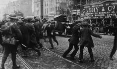 Black and tans ram through crowds on O'Connell Street Dublin during war of independence.  #OldIreland