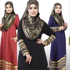 New Muslim Womens dress Floor-Length Islamic Abaya Long Sleeve O-Neck  Striped Turkish Malaysian Saudi Dubai Style Kaftan Dresses - OneClickMarket f49b135d9383